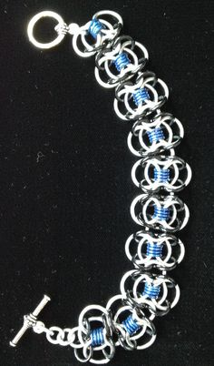Large Butterfly bracelet made with AA & EC rings with toggle closure-