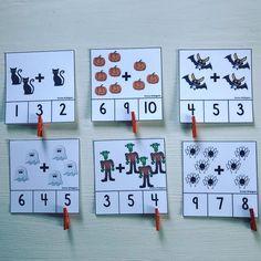 """Emma Widegren on Instagram: """"Ett rysligt kul additionsmaterial perfekt till exempel till mattestationer. Uppgifter inom talområdet 0-10 där svaret markeras med en…"""" 9 And 10, Calendar, Maths, Holiday Decor, Instagram, Educational Toys, Calculus, Wolves, School"""