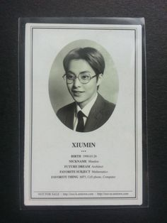 EXO M XIUMIN XOXO Official Photocard 1st Album Photo ID Card