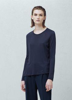 Lace panel t-shirt | MANGO