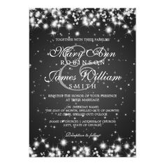Elegant Wedding Winter Sparkle Black 5x7 Paper Invitation Card Invitations Stationary