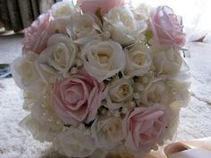 DIY bouquet with silk flowers and pearls