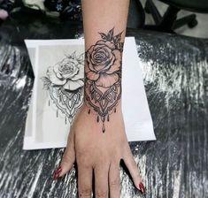 Mandala Wrist Tattoo, Wrist Tattoo Cover Up, Rose Tattoos On Wrist, Rose Tattoos For Women, Tattoo Designs Wrist, Sleeve Tattoos For Women, Arm Tattoos For Women Forearm, Hamsa Tattoo, Boho Tattoos
