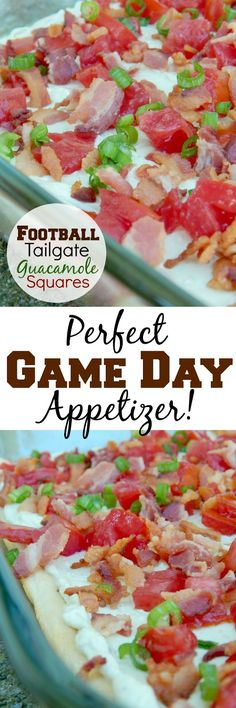 Football Tailgate Guacamole Squares...the perfect Game Day appetizer!
