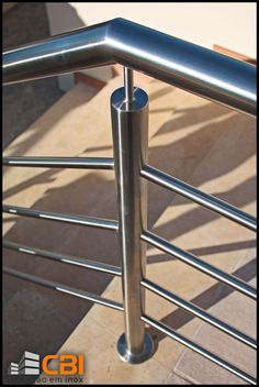 Inox Algarve www.cbi-lda.com geral@cbi-lda.com Steel Stair Railing, Interior Stair Railing, Modern Railing, Balcony Railing Design, Staircase Handrail, Steel Stairs, Modern Stairs, Railings, Door Gate Design