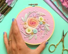 Embroidery Art by MarableLake on Etsy Floral Embroidery Patterns, Hand Embroidery Stitches, Embroidery Hoop Art, Cross Stitch Embroidery, Couture, Etsy, Bouquet, Peach, Crafts