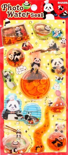 kawaii colorful animal panda bear water capsule stickers