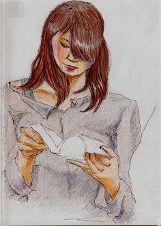 本を読むお姉さん(通勤電車でスケッチ)This is a sketch of a woman reading a book. It drew in a commuter train.