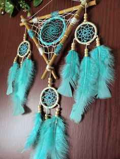 Medium size dream catcher unique combination of turquoise and