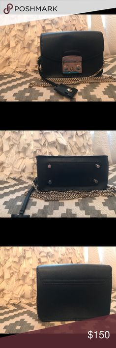 FURLA Metropolis mini bag Black cross body mini metropolis bag with gold chain. Furla Bags Crossbody Bags