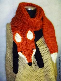 (Wrap The Fox) faux fox, foxy stole/scarf. A cool, funky, and hip winter accessory to add to your wardrobe for a classy or casual appeal. scarf is hand crocheted in an acrylic yarn. Same listing, different yarn color for ears. Crochet Cross, Love Crochet, Crochet Gifts, Hand Crochet, Knit Crochet, Maquillage Halloween Clown, Fox Scarf, Knitting Patterns, Crochet Patterns