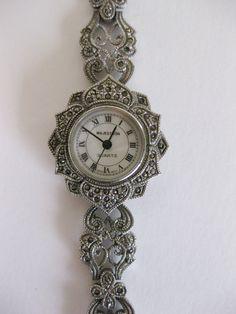Vintage 1960's Gorgeous Fancy Marcasite Quartz Watch