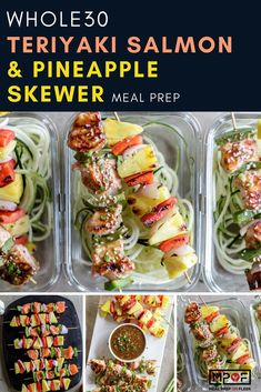 Teriyaki Salmon & Pineapple Skewer Meal Prep - Colorful salmon and pineapple skewers get dressed up with a healthier teriyaki sauce. Add your favorite vegetables, or alternately, bake everything on a sheet pan for an easy weeknight dinner. Paleo Meal Prep, Lunch Meal Prep, Easy Meal Prep, Easy Meals, Dinner Meal, Keto Meal, Lunch Recipes, Healthy Dinner Recipes, Easy Recipes
