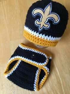 7830cf0d2c0 New Orleans Saints Baby Boy Football Newborn Hat and Diaper Cover Set Baby  Shower Gift Coming