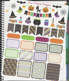 45 Happy Halloween Themed Stickers for Erin Condren Life Planner, Plum Paper, Filofax or Kiki K Planners, Calendars or Scrapbooks by FourDaisiesDesigns on Etsy