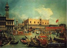 Giovanni Antonio Canal (called Canaletto),The Bucintgoro By The Molo On Ascension Day oil painting reproductions for sale
