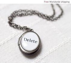 Oval silver locket necklace - Custom word necklace (L003) on Etsy, Sold