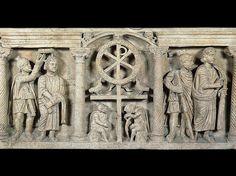 Sarcofago paleocristiano con scene della Passione di Cristo. 350. Proviene dal cimitero di Domitilla, Roma. Al centro della fronte è la raffigurazione di una croce sormontata dal monogramma di Cristo (X e P, chi-rho, iniziali del greco Christós), simbolo della risurrezione (Anàstasis). Musei Vaticani