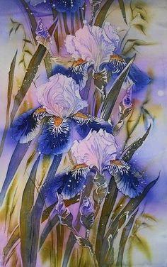 Iris silk painting
