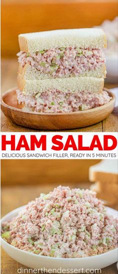 Ham Salad is a delicious appetizer or sandwich filling (perfect for holiday left. Ham Salad is a delicious appetizer or sandwich filling (perfect for holiday leftovers!) made with diced ham, relish, Ham Salad Recipes, Pork Recipes, Cooking Recipes, Honey Baked Ham Salad Recipe, Heavenly Ham Salad Recipe, Easy Ham Recipes, Healthy Recipes, Subway Sandwich, Roast Beef Sandwich