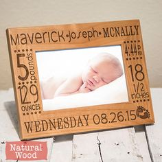Personalized Baby Picture Frame- Birth Announcement-baby gift- w/ stats-Baby Stat-Baby Name-New Baby-Wood Engraved-Color Choice by PWEGifts on Etsy https://www.etsy.com/listing/183462564/personalized-baby-picture-frame-birth