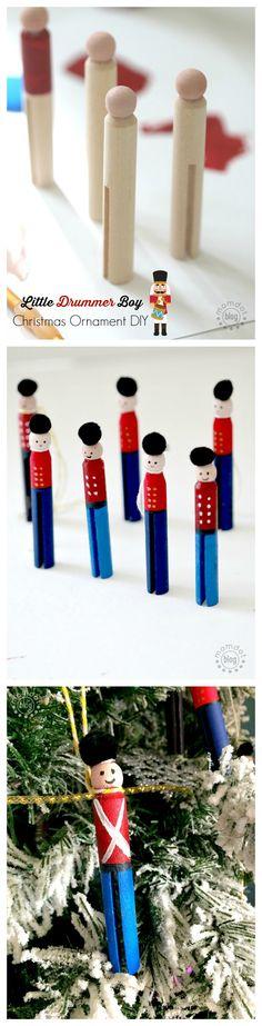 Winter kids craft - Little Drummer Boy Christmas Ornament DIY Tutorial, Clothespin Ornament