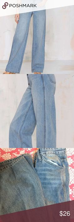 "#30 We're not about fitting in—until it comes to denim. Our vintage-inspired Nasty Gal Denim Collection is all about custom washes, perfect fits, and making your butt look good. The Wide Strider features high waisted silhouette, wide legs, four-pocket design, and button fly. Brushed metallic hardware, faded wash. Give your skinnies a break, and team these babies up with a vintage crop halter and oversized earrings. Made in LA.  *Cotton  *28""/71cm waist  *11""28cm rise  *33""/84cm inseam Nasty…"