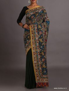 Mohini Half and Half Naturally Dyed and Hand-Painted #KalamkariPureCottonSaree