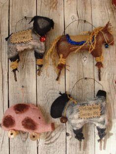 Primitive Pattern Folk Art Farm Animal Ornaments to Make Very Primitive   #NaivePrimitive