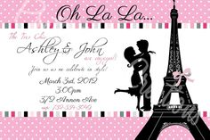 paris party invitation bridal by prettypartycreations on etsy 1100 paris party paris theme