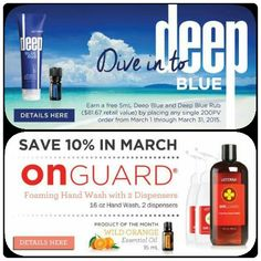 March Specials! These specials are only available to doTERRA Wellness Advocates or Preferred Members. Signup today to be eligible for these specials, the numerous other product promotions frequently offered and purchase products at 20-25% off.  Product of the month: Wild orange (must place order by the 15th!)  www.doterramommy.com