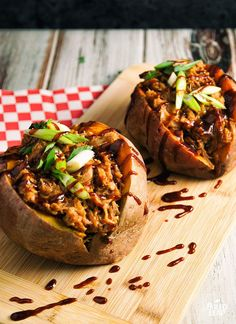 Pulled Pork Stuffed Sweet Potatoes.
