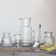 Reminiscent of beakers, HomArt's Colin Carafes are made of high-quality hand-blown glass, so they contain the slight differences associated with that art.