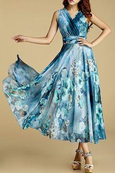 Borme Water Blue Floral Print Crossed Chiffon Dress