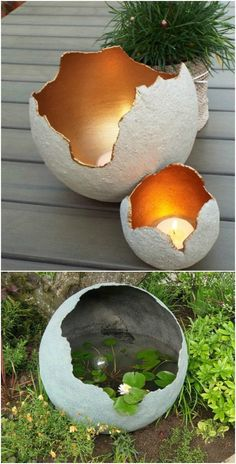Golden Centered Decorative DIY Garden Spheres decoration 15 Near Genius DIY Concrete Ornaments That Add Beauty To Your Garden Diy Garden Projects, Garden Crafts, Diy Garden Decor, Garden Art, Garden Ideas, Backyard Ideas, Garden Pool, Diy Crafts, Concrete Crafts