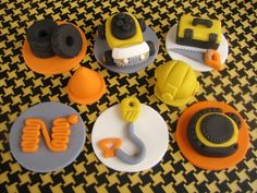 Construction themed fondant cupcake toppers