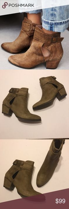 NIB! Free People Belleville Ankle Boot. New in box! • Free People suede ankle booties with purposeful distressed design • Small cutouts at the ankle and adjustable strap for an easy on & off • Leather • Ask all questions before purchasing! • Size 38. Free People Shoes Ankle Boots & Booties