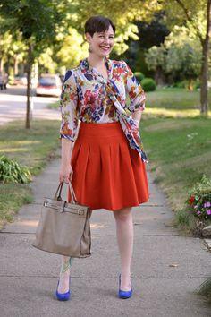 Already Pretty outfit featuring Kokoon floral tie blouse, orange pleated skirt, cobalt suede Corso Como Del pumps, Furla tote bag