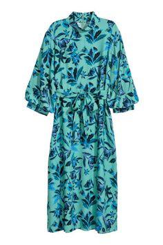 Креповое платье - Зеленый/Рисунок - Женщины   H&M RU 3