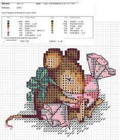 Схема вышивки крестом «Мышка с конфеткой»   Вышивка крестиком