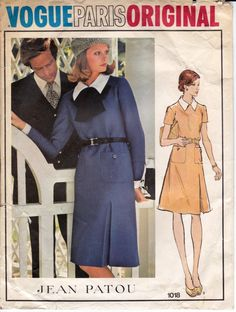 70s PATOU Winter Dress Pattern Vogue Paris Original 1018 collar and one sided inverted pleat Size 12 Bust 34 inches