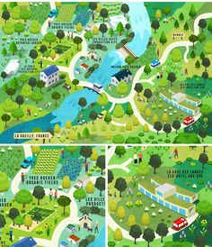 Yves Rocher France La Gacilly isometric Map on Behance Map Design, Graphic Design Art, Yves Rocher, Isometric Map, Bridge Painting, Campus Map, Eco City, Interactive Walls, Corporate Brochure Design