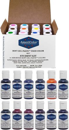 Food Coloring 183345: Americolor Set Of 12 Soft Gel Paste Food ...