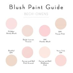 Blush Pink Paint Guide - Becki Owens One of the Pantone colors of the year, Rose Quartz, has me brainstorming in beautiful pink tones. Blush Pink Paint, Pink Paint Colors, Light Pink Paint, Light Pink Walls, Nursery Paint Colors, Wall Colors, Murs Roses, Pink Room, Blush Pink Living Room