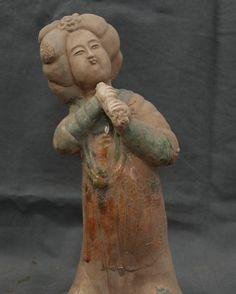 """14 """"de Cerámica de la Porcelana China Tang San Cai Soporte Belle Estatua de Tocar La Flauta"""