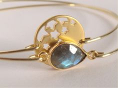 Gold stars and labradorite bangles set  Gemstone by Cecileis, $30.00