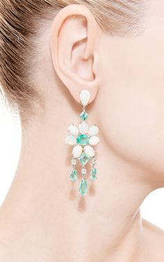 18K White Gold, Emerald, White Opal and Diamond Earrings by Nina Runsdorf - Moda Operandi