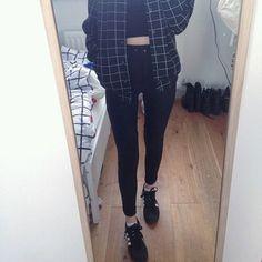 jacket tumblr grid grunge tumblr grunge dark pale aesthetic jeans shoes top…