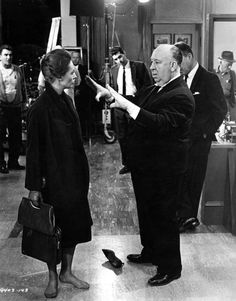 Tippi Hedren and director Alfred Hitchcock on the set of Marnie, 1964
