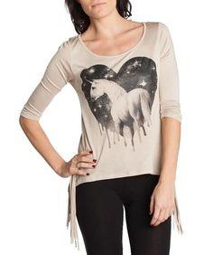 Sexy Beige Unicorn Heart Bejeweled Hi Lo Fringed 70's style Blouse Top Urban NEW #Topiea #oversizedhilo #Casual